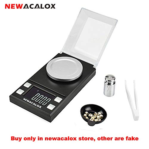 - NEWACALOX Digital Milligram Jewelry Scale 50 x 0.001g,High Precision Portable Multifunction Lab Reload Powder Gold Scales with Calibration Tare Weights, Black