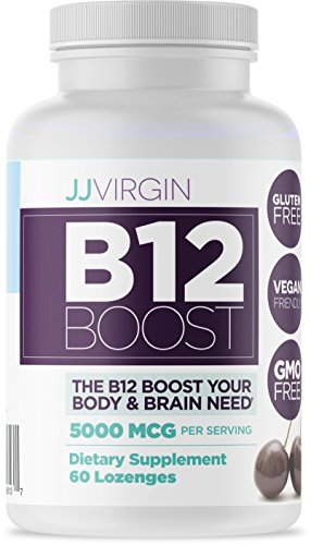 JJ Virgin - B12 Boost, High Dose, 60 Black Cherry Flavored Lozenges