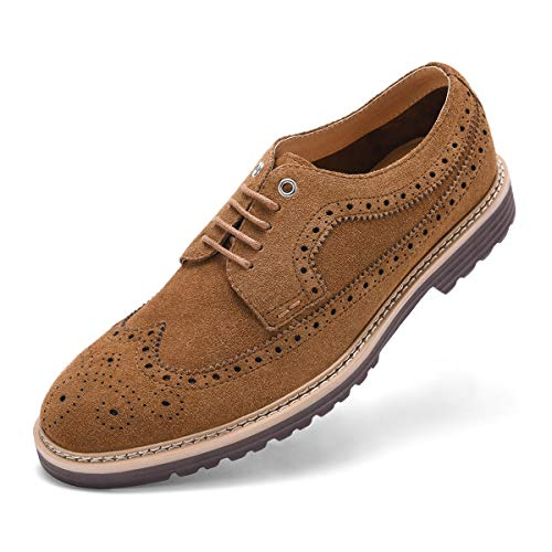 GM GOLAIMAN Men's Suede Wingtip Dress Shoes Stylish Oxfords Lace-Up Brogue Shoes D Brown 12 (M) US