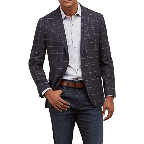 Kenneth Cole REACTION Men's Slim fit 2 Button Blazers, Navy Windowpane, 46R -