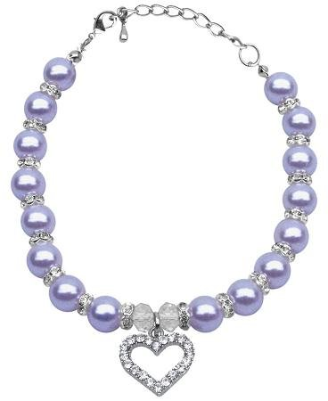Mirage Pet Products 8 to 10-Inch Heart and Pearl Necklace, Medium, Lavender by Mirage Pet Products