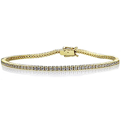 Prong Set Tennis Bracelet - Sterling Silver Yellow Gold Plated 1.5mm 1.5 ct.tw Round CZ Prong Set Tennis Bracelet, 7.25 Inch