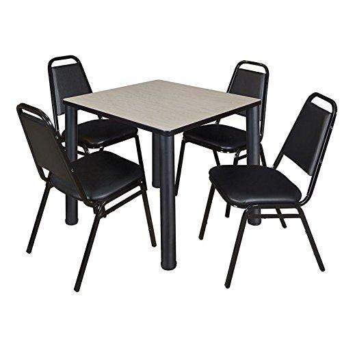 "Regency TB3030PLBPBK29BK Kee 30"" Square Break room Table & 4 Restaurant Stack Chairs, Maple/Black"