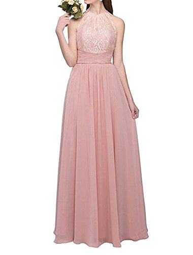 Burgundy Long Chiffon Lace Prom Light Dress Dress Bridesmaid Top Botong Blue Halter BFTwxq5