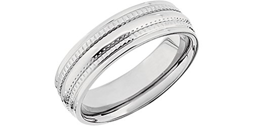 Titanium 6mm Milgrain Comfort Fit Ring, Size 9 by The Men's Jewelry Store (Unisex Jewelry)