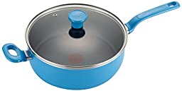 T-fal C96933 Excite Nonstick Thermo-Spot Dishwasher Safe Oven Safe PFOA Free Jumbo Cooker Cookware, 4.5-Quart, Blue