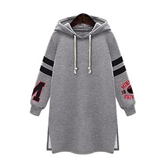 Misaky women top Women's Winter Hooded Sweatshirt Coat Tops Pullover Plus Size Large Gray