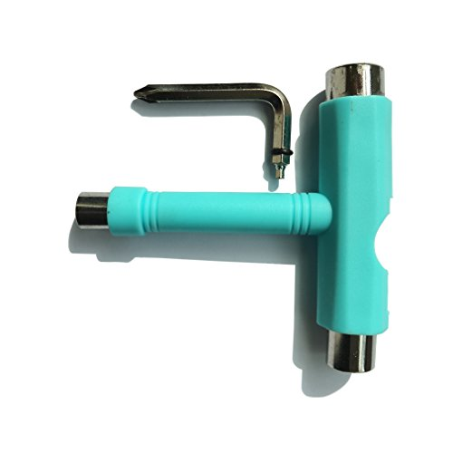 Samuauto Skateboard T-tool All in One Screwdriver Socket Multi Function Skate Tool (Green) (Hockey Skate Roller Tool)
