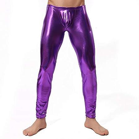 AFYH Pantalones Largos de Charol para Hombre, pantalón Sexy de ...