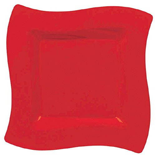 Apple Red Party Wavy Plates, 6.5