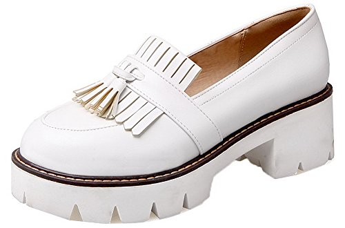 Pull Shoes Women's Kitten WeenFashion Round Fringed On Pumps Toe PU Heels White vYq5H7d5x