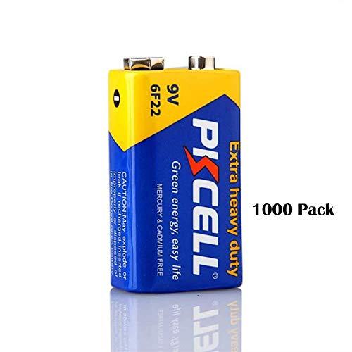 PKCELL 9V 6F22 Super Heavy Duty Batteries (1000 Pack) ()