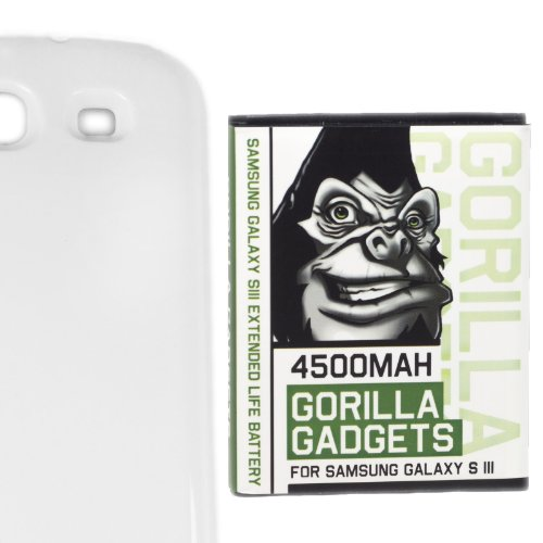 ([4550mAh Tested Capacity] Gorilla Gadgets 4500mAh Extended Life Battery for Samsung Galaxy S3 with NFC + Marble White Back Cover [Compatible with Samsung Galaxy S III GT-i9300, AT&T Samsung Galaxy S3 Samsung i747, Verizon Samsung Galaxy S3 Samsung i535, T-mobile Samsung Galaxy S3 Samsung T999, U.S. Cellular Samsung Galaxy S3 R530, and Sprint Samsung Galaxy S3 Samsung L710] )