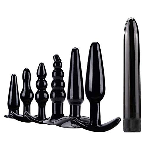 7Pcs Anales Massager Trainer Kit-Beginner Starter Set - 100% Medical Grade Silicone (Black)