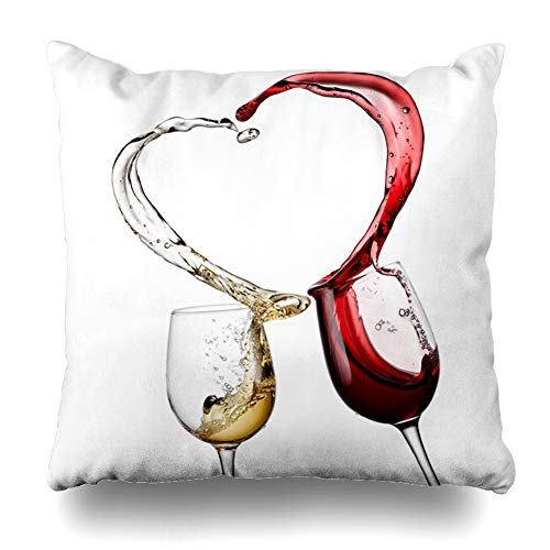 Ahawoso Throw Pillow Cover Day Love Red White Wine Heart Splash Abstract Beverage Food Drink Glass Valentine Still Swirl Design Decorative Pillow Case 18x18 Inches Square Home Decor Pillowcase from Ahawoso