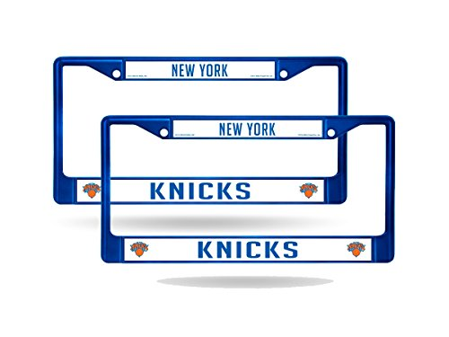 New York Knicks Blue Painted Chrome Metal (2) License Plate Frame
