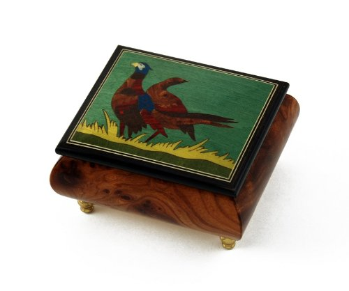 Handcrafted Birds Theme Italian Music Box with Pheasant Inlay - Singing In The Rain