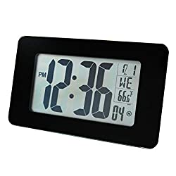 Marathon CL030041-BG Designer Tempered Glass Panel, Atomic Self-Setting Self-Adjusting Wall Clock with Stand and 8 Time Zones - Batteries Included. (Black Glass)
