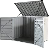 Click-Well 5x3 Metal Storage Shed. Low-Profile Horizontal, Ideal for Trash (2x64gal), Garden Tools, BBQ Grills, Firewood, Kid's Bikes/Outdoor Toys, Lawn Mower, Well Pump, Pool Pump/Filter, Animal Feed
