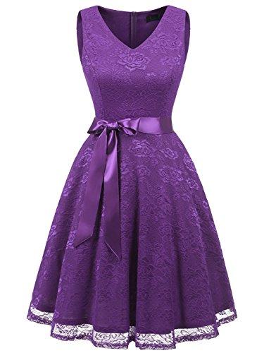 IVNIS RS90025 Women's Cocktail Dress V Neck Vintage Floral Lace Swing Bridesmaid Dress Purple XL