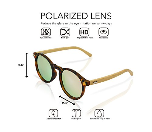 Polarized Round Bamboo Sunglasses: For Men and Women, UV Protection with Wooden Arms, Oversized by Reys (Image #2)