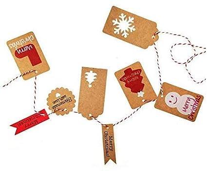 6 styles de motifs creux et 5 styles de motifs imprim/és de No/ël MonQi /Étiquettes de Cadeaux de No/ël 220pcs Mignon /Étiquettes en Papier Kraft de No/ël avec 10m de Ficelle Rouge et 20m Ficelle de Jute