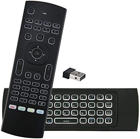 Calvas MX3 MX3-L Backlit Air Mouse T3 Smart Voice Remote Control 2.4G RF Wireless Keyboard For X96 mini KM9 A95X H96 MAX Android TV Box Color: RU mic with backlit