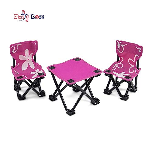 Emily Rose 18 Inch Doll Accessories Furniture for American Girl Dolls | Flowered Doll Camping Chairs and Table Set, Includes Carry Case | Fits 18