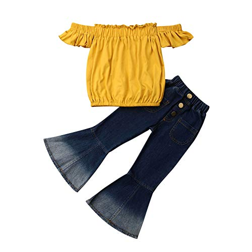 Merqwadd Toddler Baby Girl Clothes Off Shoulder Tube Top Shirt Bell Bottom Jeans Pants Summer Outfits (Yellow top, 4-5T) (Cute Spring Outfits For School With Jeans)