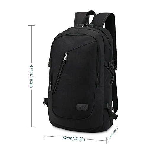 with Charging College Anti USB Business Daypack Lock Resistant Backpack 6 Port and for 15 Backpack Rucksack Theft 1 Theft Port Earphone Slim Bag Laptop Grey GIM Work Water with Inch black Computer 2 qwxz0fqr