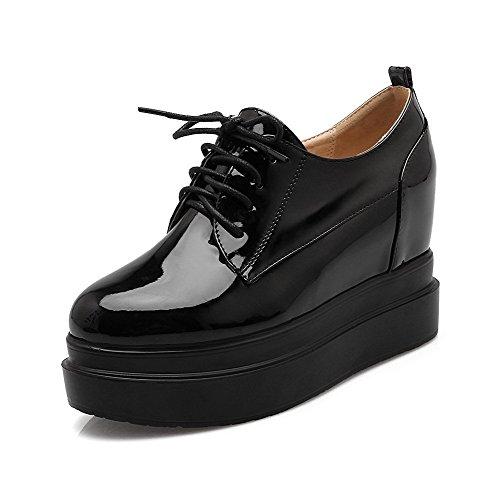 Allhqfashion Damesschoenen Met Hoge Hak Effen Kanten Ronde Gesloten Pumps-schoenen Zwart