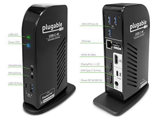 Plugable Usb C 4k Triple Display Docking Station With