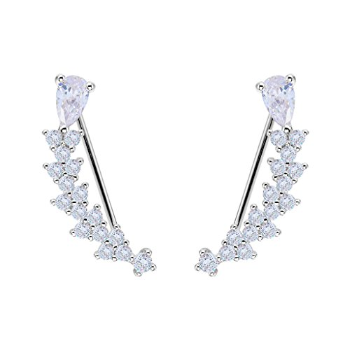 EVER FAITH Women's 925 Sterling Silver CZ Sweep Ear Pin Cuff Wrap Hook Earrings Clear 1 Pair