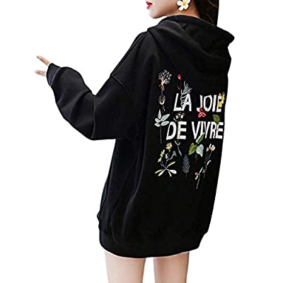 Sttech1 Plain Hoodie Women Hooded Sweatshirt Pocket Back Letter Pattern Printed V-Neck Pullover Sweatshirts Warm Coat: Clothing