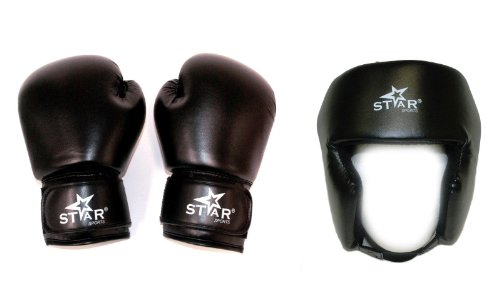 Gloves Boxing Headgear (Star Sports Boxing Gloves Olus Head Gear Training Package (BLACK, 10 oz))