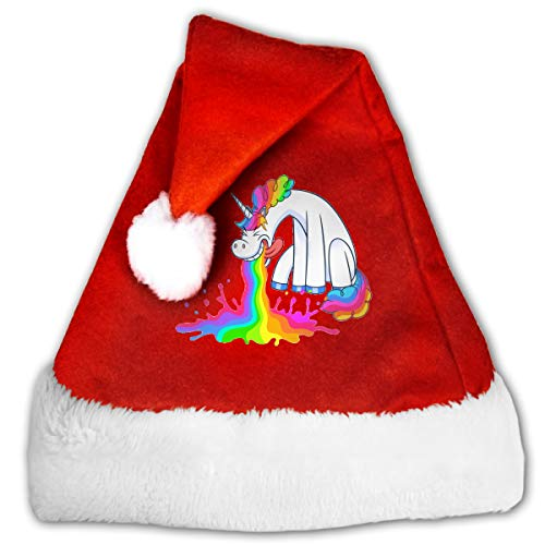 FQWEDY Funny Unicorn Puking Rainbow Unisex-Adult's Santa Hat, Velvet Christmas Festival Hat