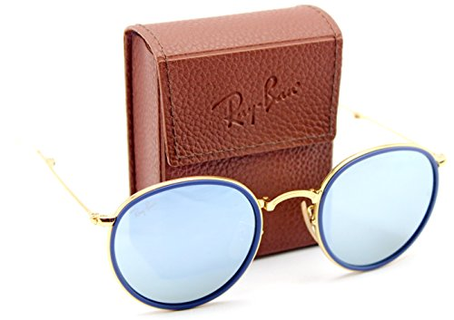 Ray-Ban RB3517 001/30 Round Folding Gold Frame / Green Mirror Silver Lens - Ray Sunglasses School Old Ban