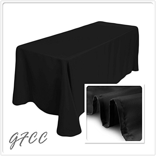 GFCC 6FT 90 x 132-Inch Seamless Black Rectangular Tablecloth For Wedding Party Decorations