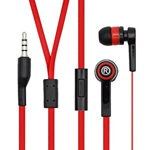 Importer520 Bullet Noodle Flat Cord Handsfree Stereo Earphones Earbuds with Microphone for Samsung Replenish M580 - Black+Red