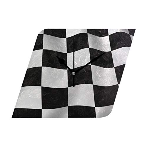 Ladninag Wall Clock Checkered Flag Silent Non Ticking