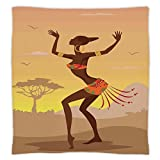 Super Soft Throw Blanket Custom Design Cozy Fleece Blanket,Afro Decor,Ethnic Lady in Ritual Dance Person in Psychedelic Style Figures Artisan Image,Brown Cocoa,Perfect for Couch Sofa or Bed