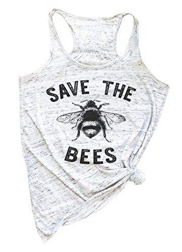 Women Summer Sleeveless Save The Bees Racerback Tank Top (XL, - Bee Top