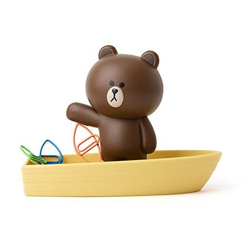 LINE FRIENDS Magnetic Clip Holder - Brown Character on Boat Design Magnet Desk Organizer and Paperclip Holder, Brown by LINE FRIENDS