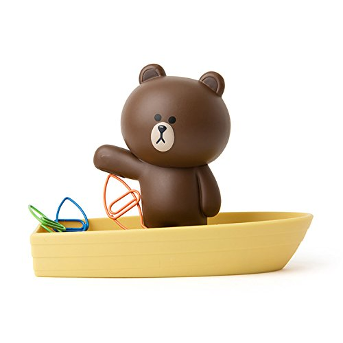 LINE FRIENDS Magnetic Clip Holder - Brown Character on Boat Design Magnet Desk Organizer and Paperclip Holder, Brown (Cute Best Friend Lines)