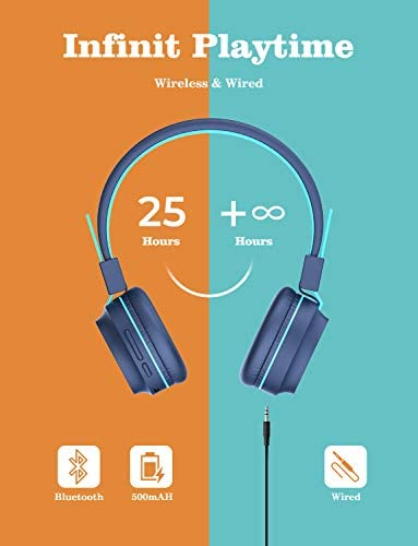 IClever BTH03 Kids Bluetooth Headphones, Colorful LED Lights Kids Headphones With MIC, 25H Playtime, Stereo Sound, Bluetooth 5.0, Foldable, Childrens Headphones On Ear For Study Tablet Airplane, Blue