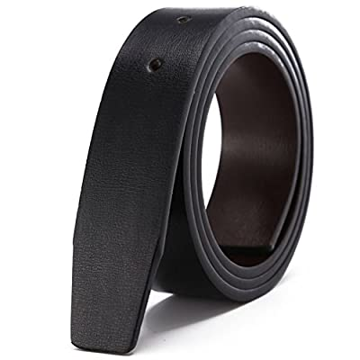 "MAKEN Double Sided Leather Smooth Belts for Men Without Buckle 1.3"" (33mm) Wide"