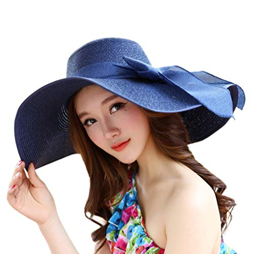 YEZIJIN Women Big Brim Straw Hat Sun Floppy Wide Brim Hats New Bowknot Folding Beach Cap -