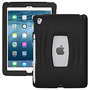 UZBL Slim AirWave Case, One Piece Silicone Design with Built-in Pencil Holder, Compatible with Apple iPad 9.7 Pro and iPad Air 2 (Black)