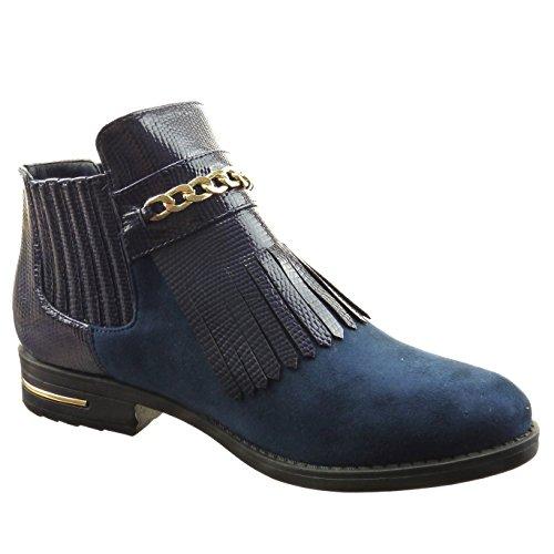 ce7874f521da83 ... Sopily - damen Mode Schuhe Stiefeletten Chelsea Boots Schlangenhaut  Kette metallisch - Blau ...