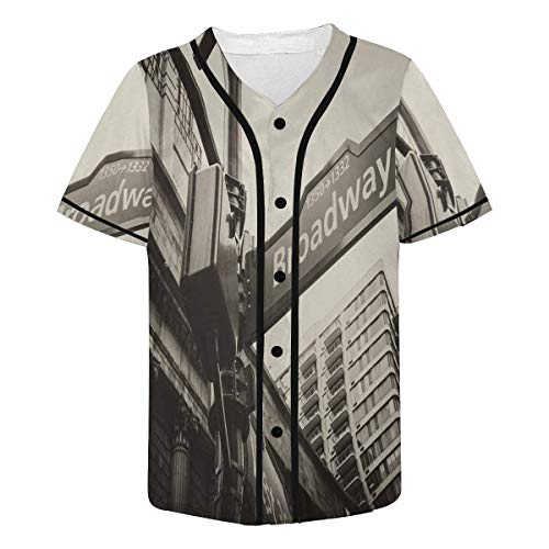INTERESTPRINT Mens Broadway and West 6th Street Sign New York City Baseball Jersey Button Down T Shirts XL